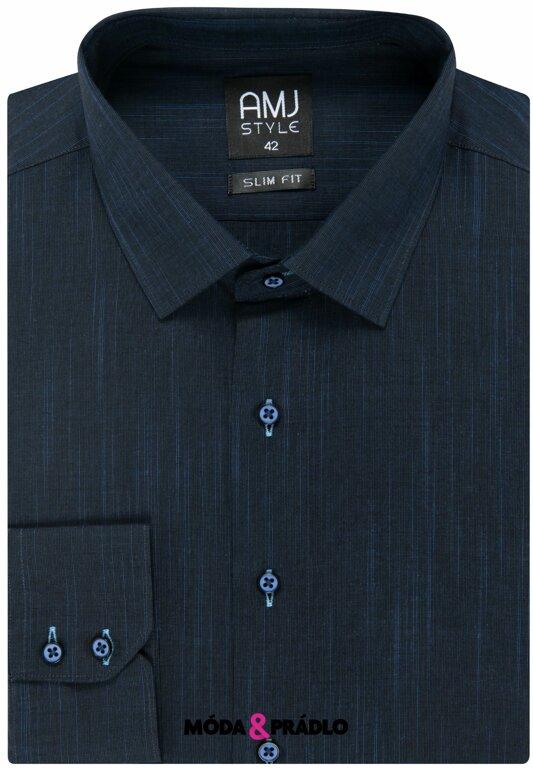 6dac7c3f1f22 Pánské košile AMJ Style Slim VDS 329 noční modř - moda-pradlo.cz