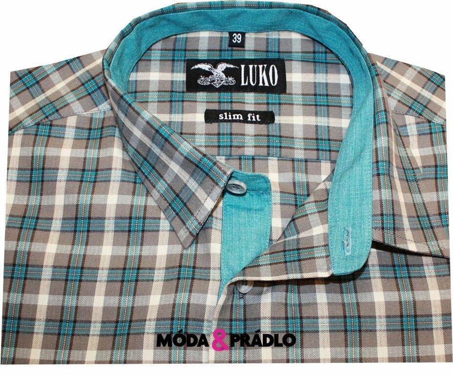 83bd7ac3b925 Pánská košile Luko SlimFit 5446 - mint kostka - moda-pradlo.cz