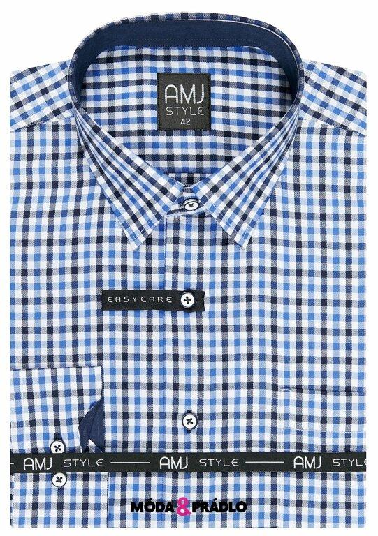 a5f315767c6b Pánská košile AMJ Style VDR 868 modrá kostička - moda-pradlo.cz