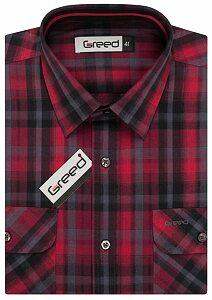 Kostkovaná pánská košile AMJ Greed SK 344 červená eba95e4517