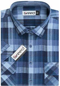 Kostkovaná pánská košile AMJ Greed SK 353 modrá kostka fca3729e68